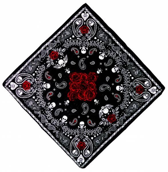 Nickituch schwarz-Rosen rot Pasli. Muster Totenkopf weiss 54cm