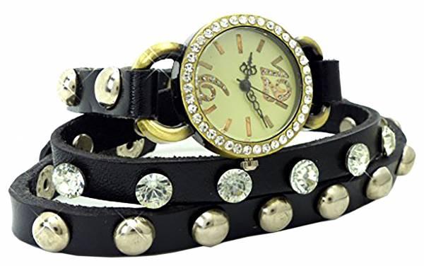Damen-Uhren Armband-Uhr schwarz mit Edelsteinen Wickel-Armband-Uhr-Strass und Nieten SCHWARZ U65-4