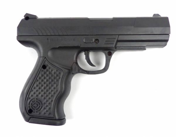Kinder Spielzeug-Pistole ab 3 Jahre Softair-Waffe schwarz Federdruck 0,2J Set