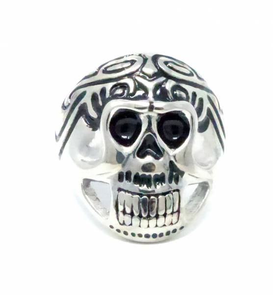 Halloween-Ring XL Statement-Ringe Totenkopf silber GR.19