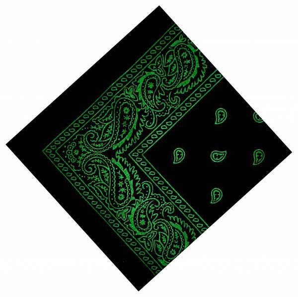 Herren Damen Nickituch schwarz Pasli. Muster Grün 54cm