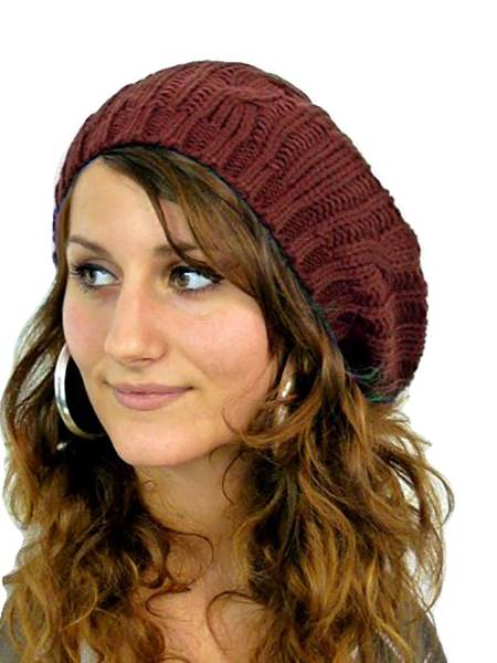 Muetzen Damen Barett Woll-Mützen warme Strick Mütze wool cap (braun)