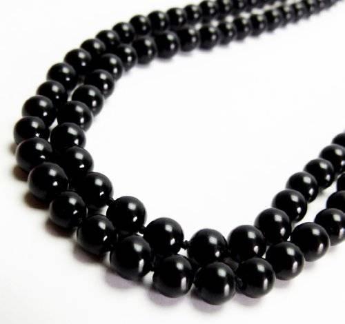 Perlen-Kette 2290 Halsketten Damen Perlenketten viele Farben 58cm (schwarz)