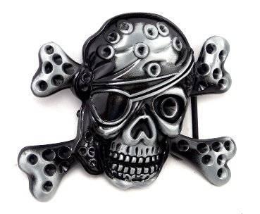 Gürtelschnalle Herren Damen Buckle schwarz Metall  Pirat Totenkopf Patch Koppel Gürtel Schnalle Black Metal Buckle 2703