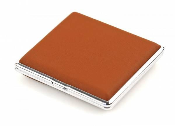 Zigaretten Etui brown echt Leder Herren Damen Zigaretten Box silber Genuine Leather (braun) 4420