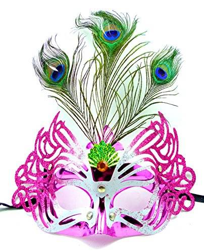 Feder Masken #1 elegant venezianische 2880 Karneval Maskerade-Gesichts-Maske Fasching-Feder-Maskerade (pink)