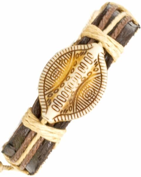 Herren Leder Armreifen Schmuck Armband Vintage Einstellbar Surf Armkettchen Motiv Afrikanisches Schutzschild