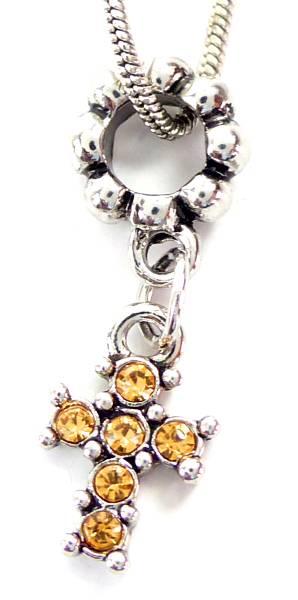 Kette 4443 Charms Anhaenger Schmuck Damen Halsketten Super Geschenk auch zur Konfirmation Strass Beads (KREUZ ORANGE)