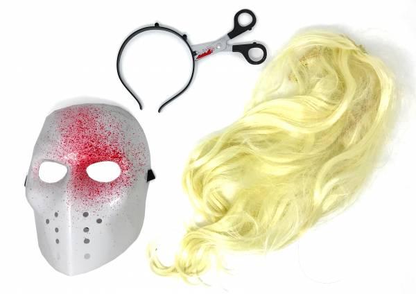 Halloween Horror Masken-Set Halloween Fasching-Karneval Kinder + Erwachsene Verkleidung Schere schwarz