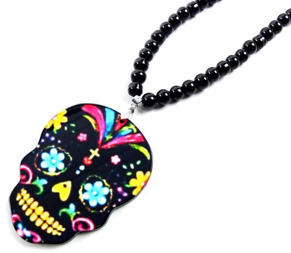 Halskette Herren Damen Totenkopf schwarz Funky Skull 4350 unisex Perlen Kette Flower Scull (black)