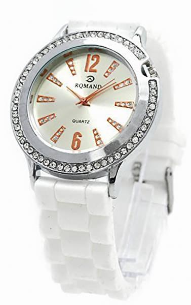 Damen-Uhr weiss Designer Armbanduhr mit Strassbesatz im edlen Design Trendit Time White