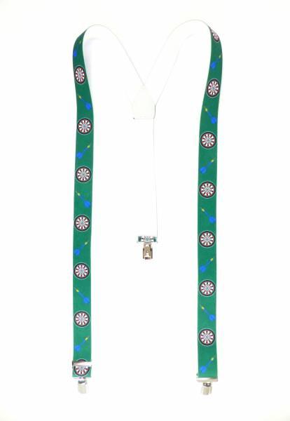 Hosenträger grün Dart-Scheibe Motiv Dart-Pfeile Suspenders green Design, mit 3 Clips, 3,5 cm
