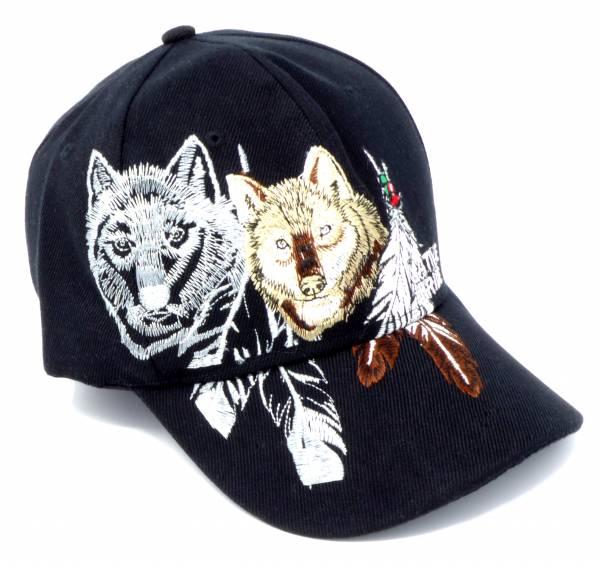 Base-cap Schirm-Mütze Schwarz Motiv Wolf