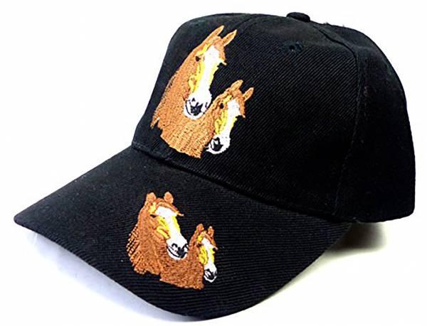 Pferde-Mütze Kinder Caps schwarz viele Farben Pferde Cappy Retro Mütze 100% Baumwolle (schwarz)