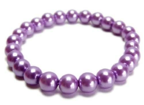 Perlen Armband Glanz Perlen 3087 auf Stretch Armband - viele Farben (flieder)