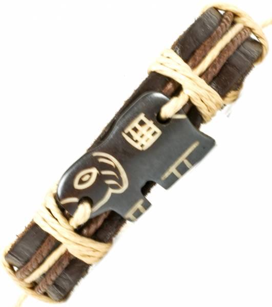 Herren Leder Armreifen Schmuck Armband Vintage Einstellbar Surf Armkettchen Motiv Elefant