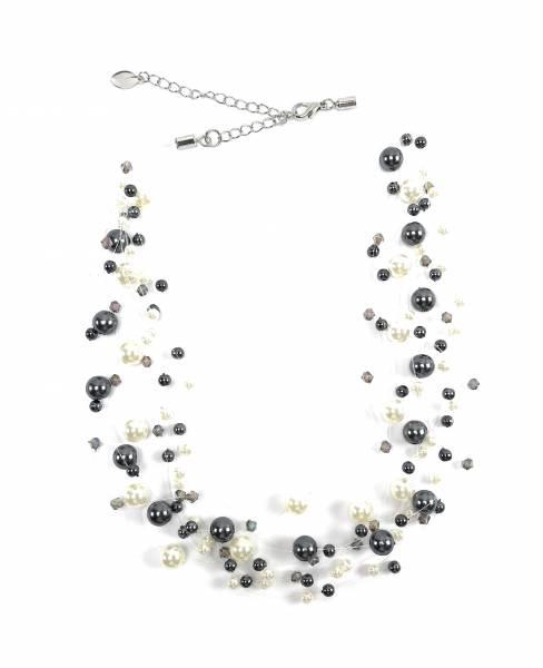 Damen Perlen-Ketten Halskette Perlen-Collier Ketten der Extra Klasse! SCHWARZ-WEISS