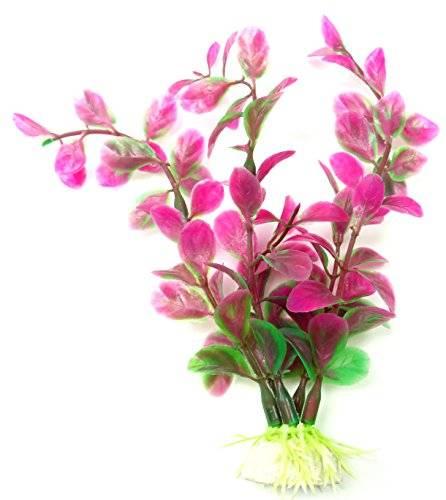 Kunststoff dekorative Aquarium Pflanzen Terrarium Wasserpflanze lila 27cm auf Stein PF34