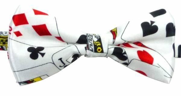 Anzug Krawatte Fliege weiss mit Karten Motiv