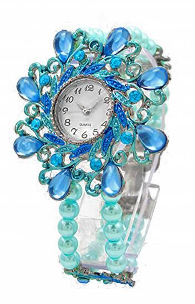 Damen-Uhren türkis perlen Flex-Armband Retro-Design elegante Damenuhr Perlen Damenuhr Designer Schmuck alle Größen mit flexiblem Armband Flower Pearl türkis 1918
