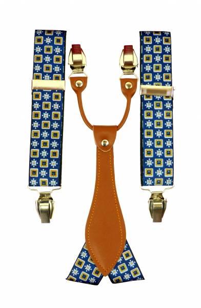 Hosenträger blau mit Muster mit  Geschenkverpackung viele Modelle (Quad blue)
