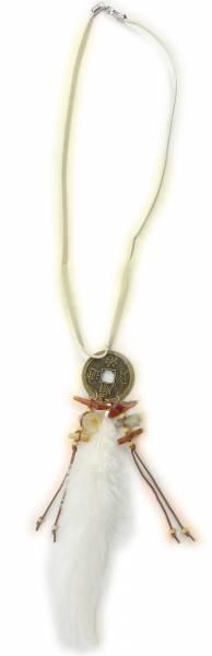 Kette 4518 Halskette Fasching Indianer Kostuem Schmuck Feder Schmuck Halloween Necklace (white)