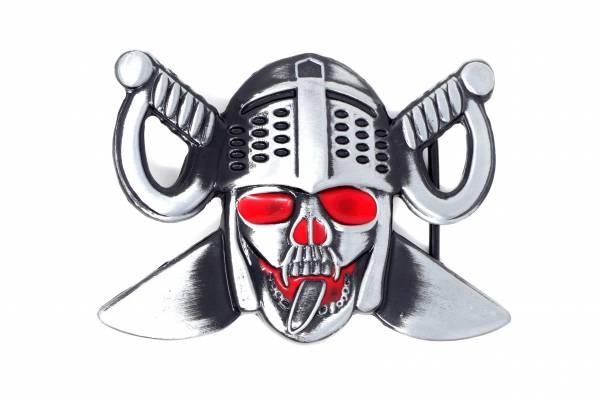 Herren Damen Wechsel Gürtelschnalle Ritter Motiv Schwerter silber schwarz