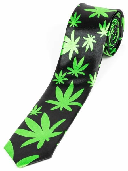 Motto-Krawatte Designer Schlips Schwarz Grün Cannabis Motiv