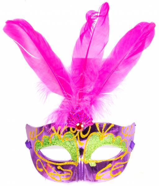 Herren Damen Fasching Karneval Feder-Maske Maskenball Maskerade Rosa Flieder