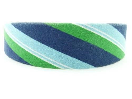 Haarreif 2832 Haar-Reifen Haarklammer klassischen Jeans-Look Streifen Blau Grün O61