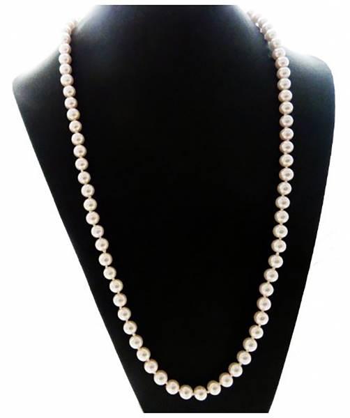 Perlen-Ketten Perlen Schmuck edle Damen-Halskette weiss Perl-Necklace white Modeschmuck 58cm WEISS 3096