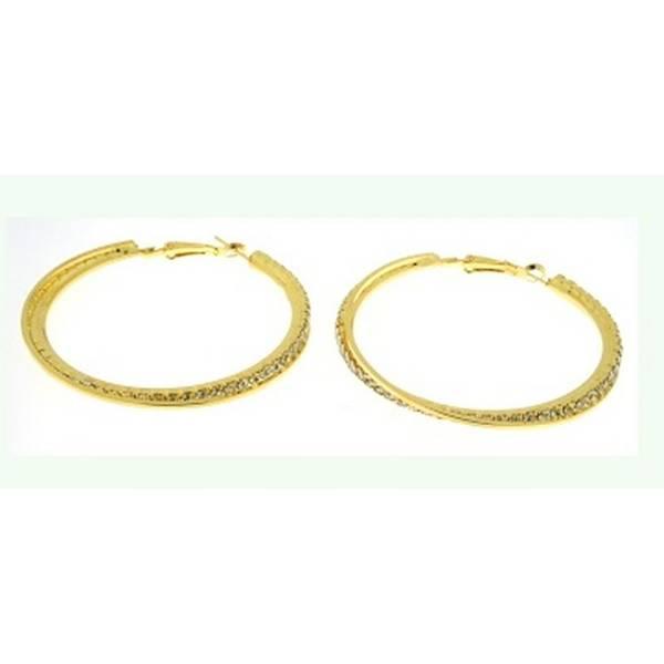 Creolen-gold Damen-Ohrringe mit Strass 4cm edle gold Earrings-Set Designer Schmuck 2Stk Ceolen Stecker Klips