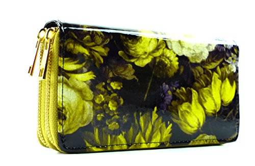 Umfanreiche Geldbörse großes Portmonee Designer Kellner Geldbörse mit Handschlaufe Yellow Flower U43-1
