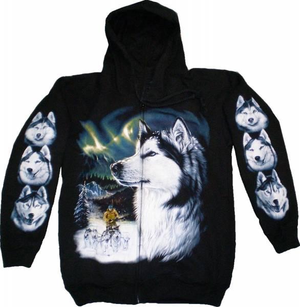 Sweatshirt Jacke mit Kaputze schwarz Hoodie Sherpa