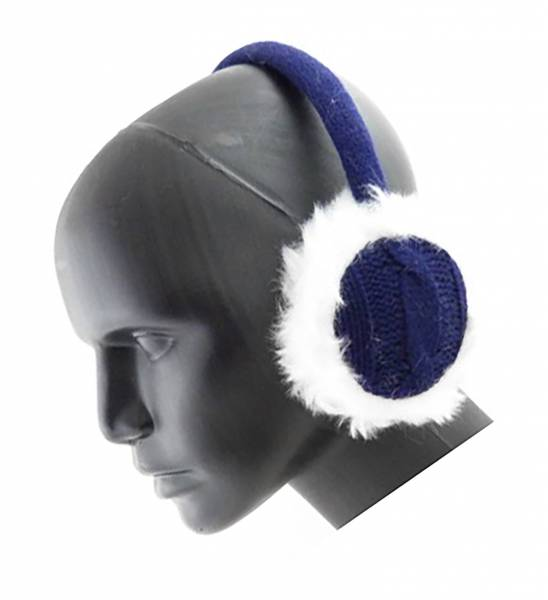 Ohrwärmer und Lautsprecher Kuschelig weich mit Fell (blau)