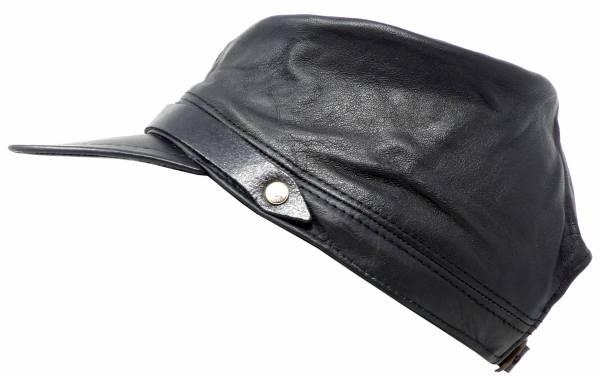 Ledermütze Herren Damen Cap alle Größen schwarz