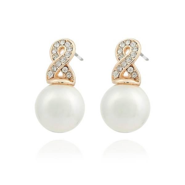 Damen-Ohrringe gold 2 Stück Perlen Ohr-Stecker creme weiss Designer Schmuck