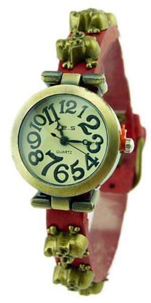 Damen-Uhren Armbanduhr braun mit Totenkopf-Nieten Wickelarmband-Uhr rot-braun Woman-Watch Brown Skull-Planks