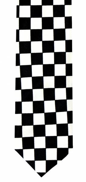 Krawatte 4610 Kariert Schlips schwarz weiss Rocker neck-tie Binder Gothic Punk Schlips black white Tie
