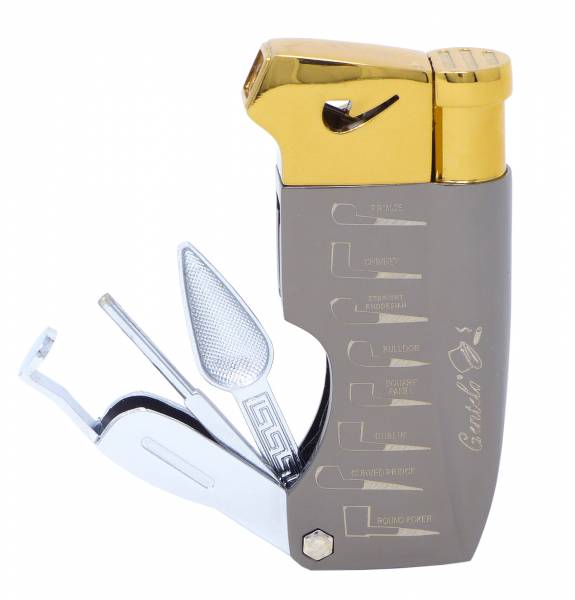 Premium Metall Pfeifen-Feuerzeug mit Werkzeug Set