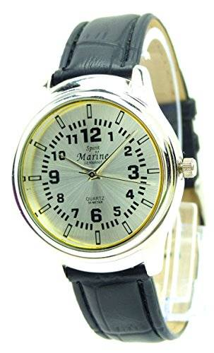 Elegant Stillvolle Armbanduhr schlichte und Klassische Armband Uhr Goldfarbende Damenuhr mit Lederarmband Q5