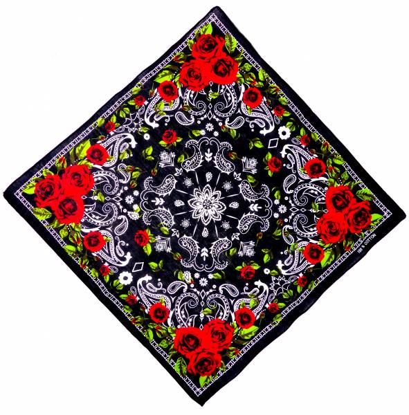 Nickituch schwarz-Rosen rot Pasli. Muster weiss 54cm