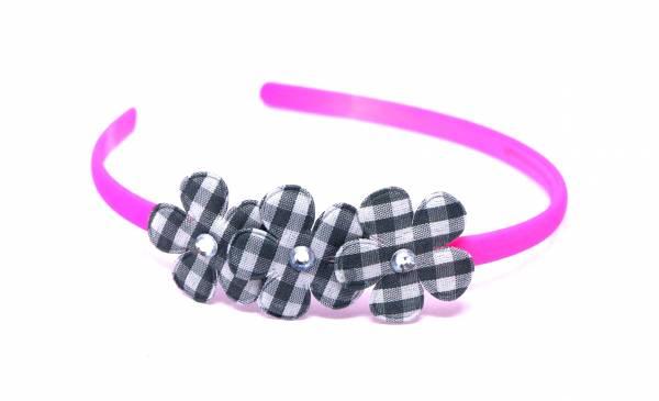 Kinder Damen Blumen Haarreif schmal neon Farben pink schwarz