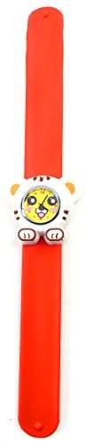 Uhren 3513 Kinder Uhr Damenuhr mit Slap Armband aus Silikon viele Modelle (Tiger weiss-orange)