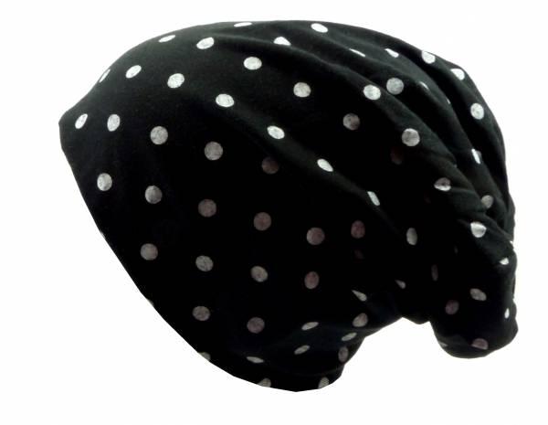 Beanie-Cap schwarz mit Punkt-Motiv weiss Herren Damen Mütze long Beanie Caps Stoffmütze Beanie Black Point-Theme white Urban Beanie Killer Chill Wear Summer Schwarz 5330