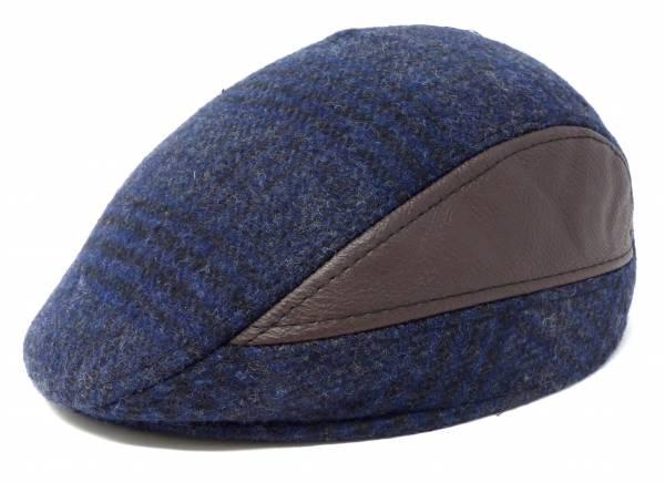 Herren Winter-Mütze Windschutz Kappe blau mit Kunstleder