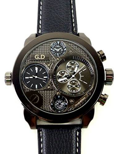 German Designer Watch hochwertige Weltreise Armbanduhr BLACK