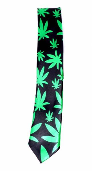 Cannabis Krawatte Anzug Schlips schwarz grün