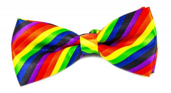 Premium Vorgebundene Herren Damen Motto Anzug Fliege Regenbogen-Flagge CSD