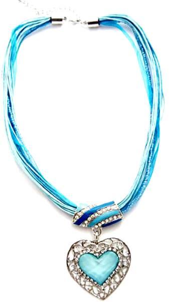 Halskette mit schönem Herz-Anhänger verschiedene Farben (blau) Oktoberfest